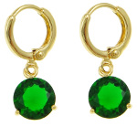 18K Gold Plate Large Emerald Faceted CZ Stone Dangle Earrings
