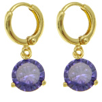 18K Gold Plate Large Purple Faceted CZ Stone Dangle Earrings