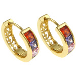 18K Gold Plate Multi Color CZ Hoop Earrings