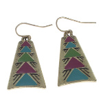 Antiqued Brass Tribal Enamel Design Dangle Earrings ~ Purple