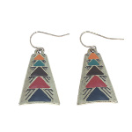 Antiqued Brass Tribal Enamel Design Dangle Earrings ~ Red