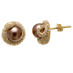 Gold over Sterling Silver Purple Pearl CZ Accent Stud Earrings