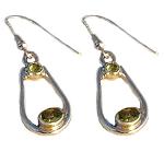 Sterling Silver & PERIDOT Loop Earrings