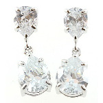 Sterling Silver Faceted White CZ Stone Dangle Earrings