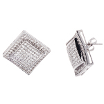 Art Deco Sterling Silver White CZ Pave Cluster Earrings
