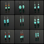 Mixed Turquoise Beads Dangle Earrings