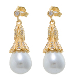 Vermeil Sterling Silver Pearl Drop & CZ Earrings ~ Yellow Gold