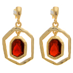 Gold over Sterling Silver Hammered Ruby CZ Stone Dangle Earrings