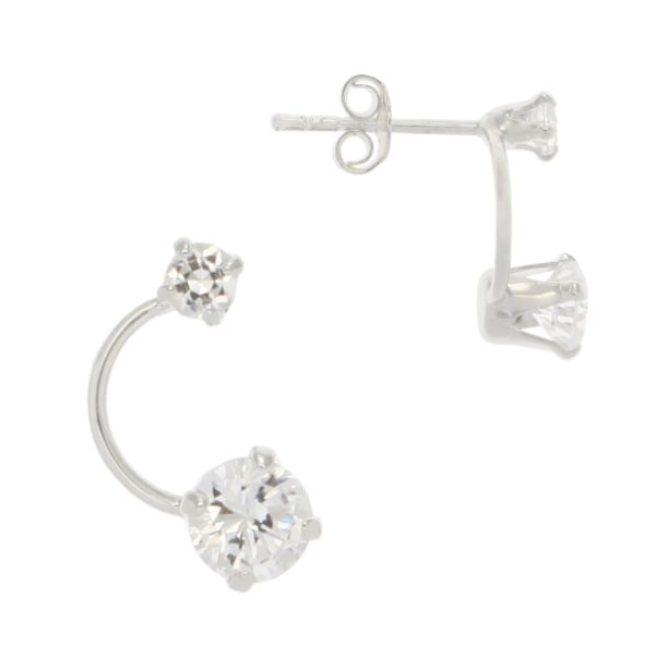 Sterling Silver Faceted CZ Crystal Half Circle Earrings