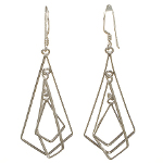 Sterling Silver Art Deco Geometric Concentric Tear Drop Earrings