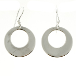 Sterling Silver MIRROR Finish 1960&#39s Mod Open Circle Earrings