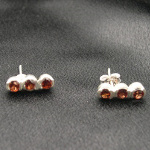 Artist-Crafted Sterling Silver & Triple Garnet Earrings