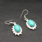 Artist-Crafted Sterling Silver & Blue Turquoise Stone Earrings