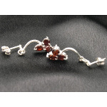 Artist-Crafted Sterling Silver & Three Garnet Earrings