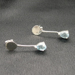 Artist-Crafted Art Deco Sterling Silver & Blue Topaz Earrings