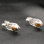 Artist-Crafted Sterling Silver & Tiger's Eye Filigree Earring