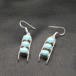 Artist-Crafted Sterling Silver & Triple Blue Turquoise Earrings