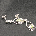 Artist-Crafted Sterling Silver & Green Peridot Filigree Earrings