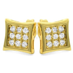 Carded 14K Gold Plate White CZ Pavee Square Stud Earrings