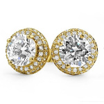 Carded 14K Gold Plate Victorian Style Tiffany Set CZ Studs