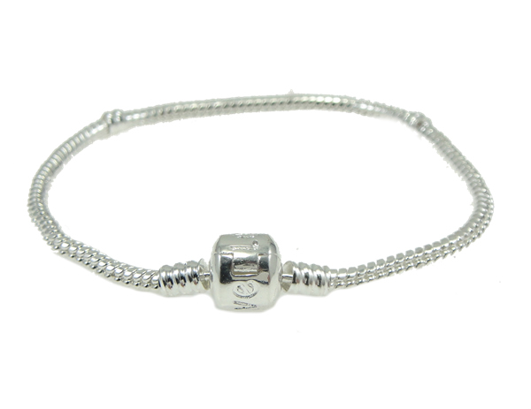 "8"" Silverplated European Bead Bracelet Traditional Clasp"