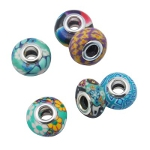 Mixed Retro Vibrant Polymer Clay European Bracelet Bead