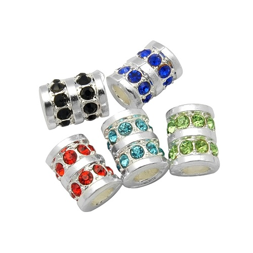Silver Tone Tube Spacers with Rhinestone Accents