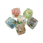 Mixed Cased Confetti Glass European Cube Bracelet Beads
