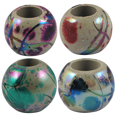 Mixed Iridescent Painted Acrylic Euopean Bracelet Beads
