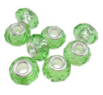 Faceted Crystal European Bead ~ Lime