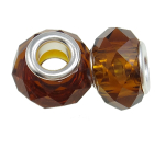 Faceted Crystal European Bead ~ Mahogany Brown