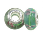 Seafoam Cased Glass Pink Trillium Flower Blossom Bead