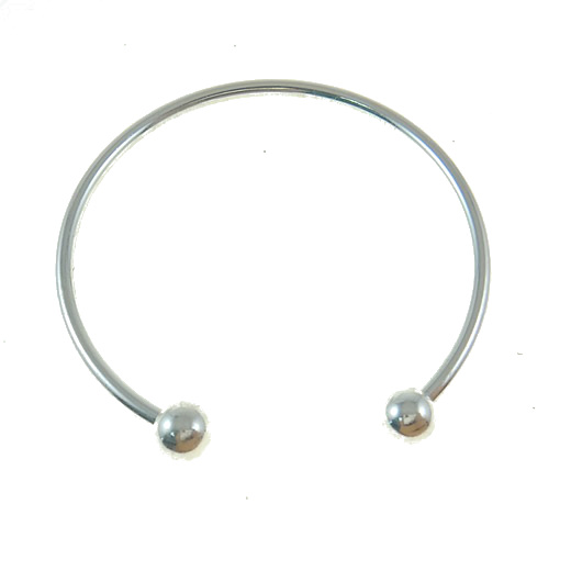 "6 3/4"" Silver Tone European Bangle Bead Bracelet"