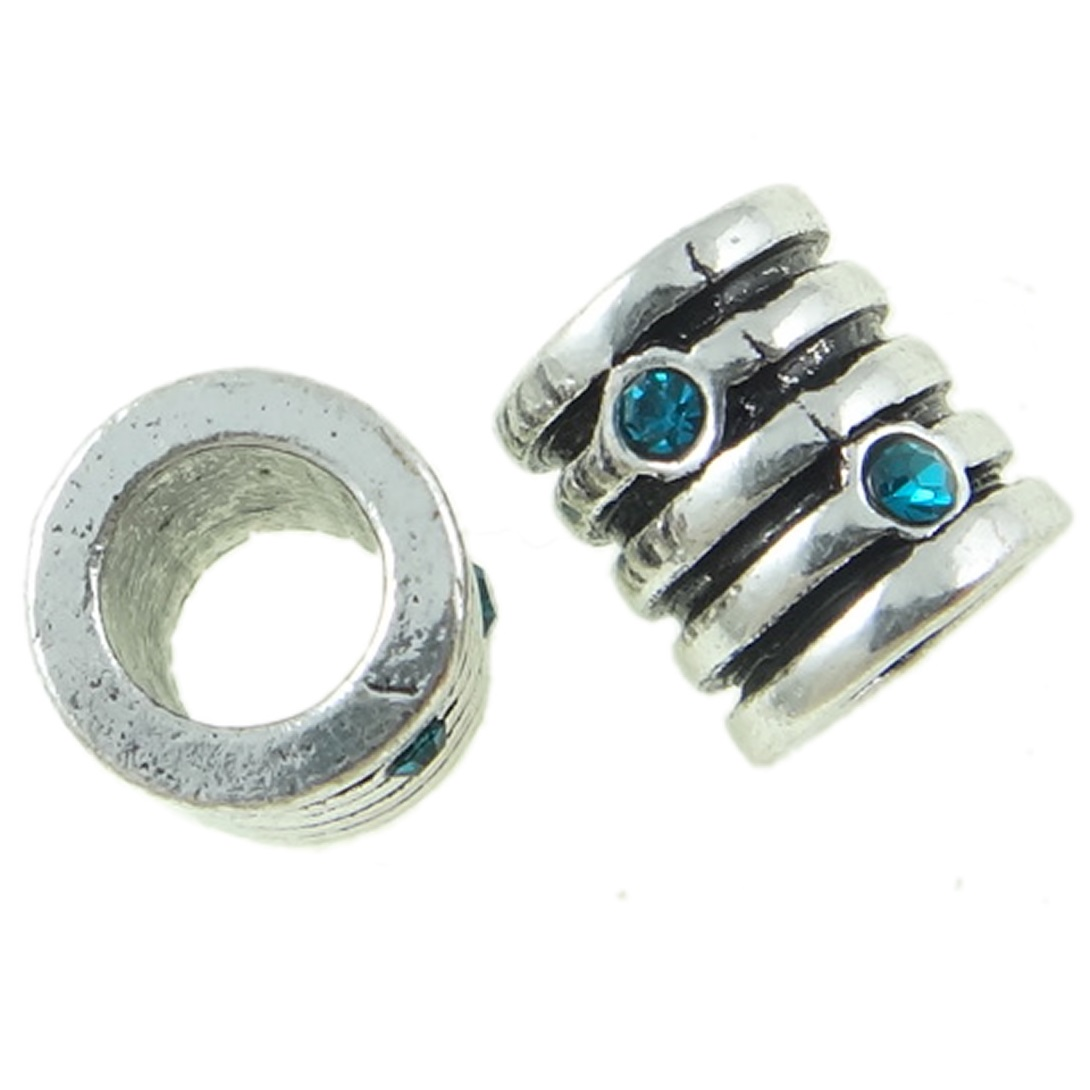Tibetan Silver Ribbed Barrel Spacer Bead Rhinestone ~ Azure