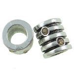 Tibetan Silver Ribbed Barrel Spacer Bead Rhinestone ~ Citrine