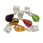 Mixed Aurora Borealis Faceted Crystal Dangle Charm Beads