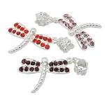Mixed Silver Tone Rhinestone Studded Dragonfly Charm Beads