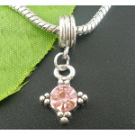 Tibetan Silver Pink Rhinestone European Dangle Charm Bead