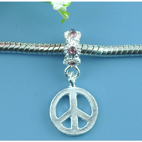 Tibetan Silver Purple Rhinestone Peace Sign European Charm Bead