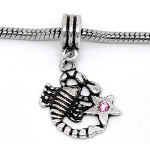 Tibetan Silver Zodiac Sorpion Pink Rhinestone Dangle Charm Bead