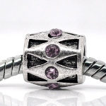 Tibetan Silver Geometric Barrel Purple Rhinestone Spacer Bead
