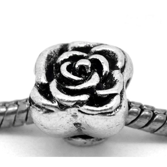 Tibetan Silver Stylized Rose Blossom European Spacer Bead