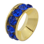 Channel Brass European Spacer Bead & Genuine Blue Rhinestones