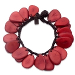 Maria Oiticica Designer Red Seed Cross Cut Bracelet