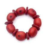 Maria Oiticica Designer Red Seed Pod Stretch Bracelet