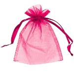 Large Organza Draw String Jewelry Bags ! Fuchsia