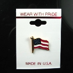 Made in USA United States of America Flag Enamel Brass Lapel Pin