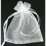 Bridal White Draw-String Organza Bags