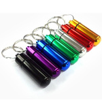 Mixed Aluminum Waterproof Pill Bottle Case Key Chain Holder