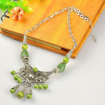 Tibetan Silver Green Turquoise Beads Statement Necklace